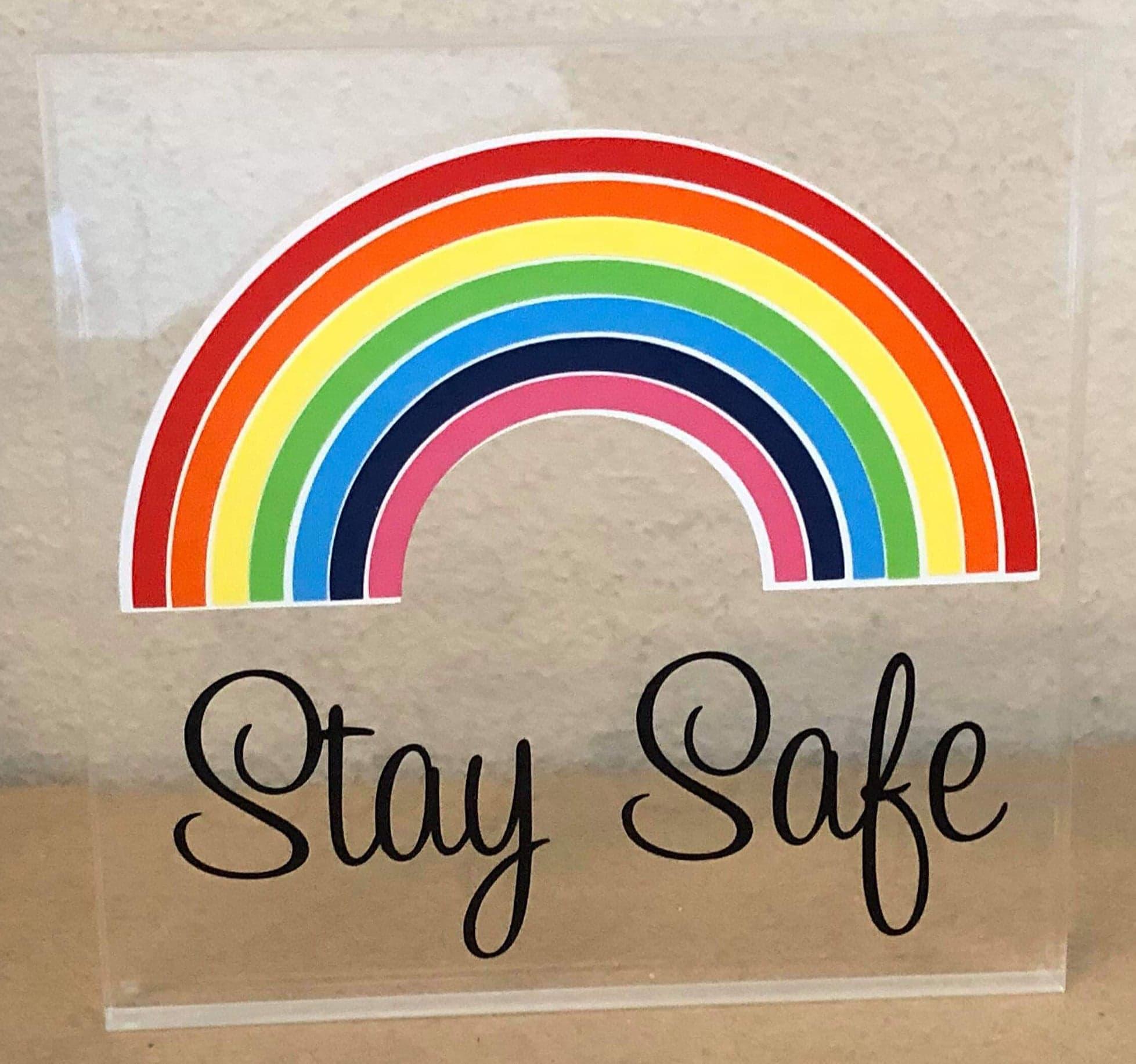 10mm Clear Acrylic Block With Stay Safe Rainbow Vinyl