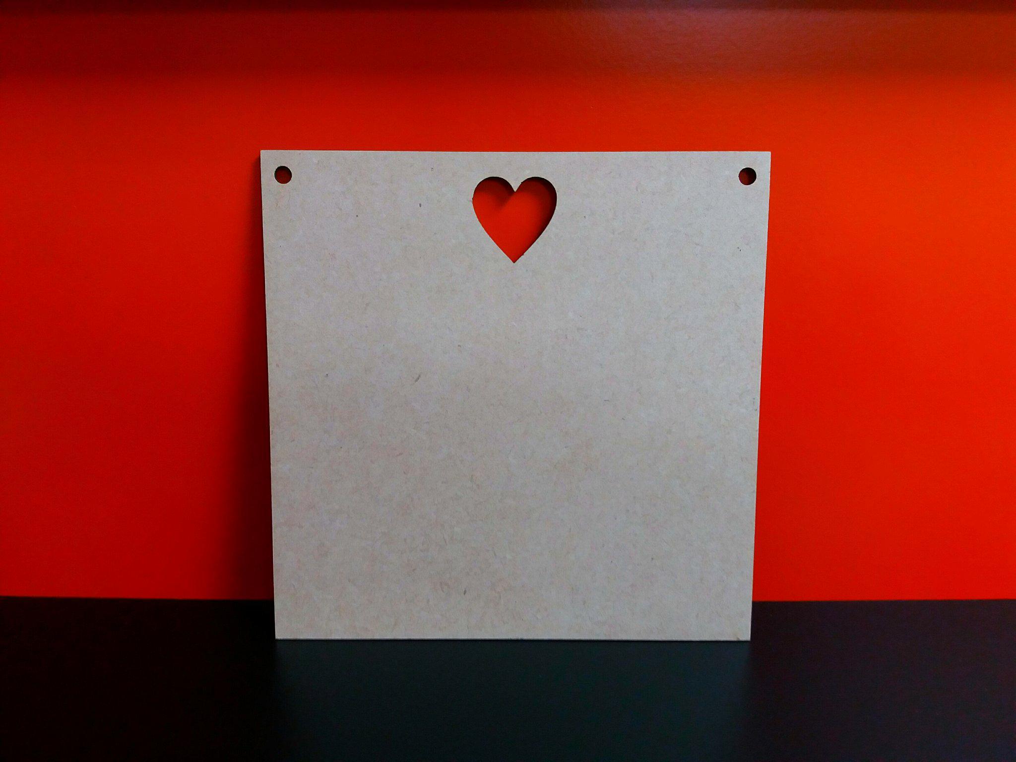 Heart Cut Out Plaque 15cm X 15cm 2 Holes Woodform Crafts