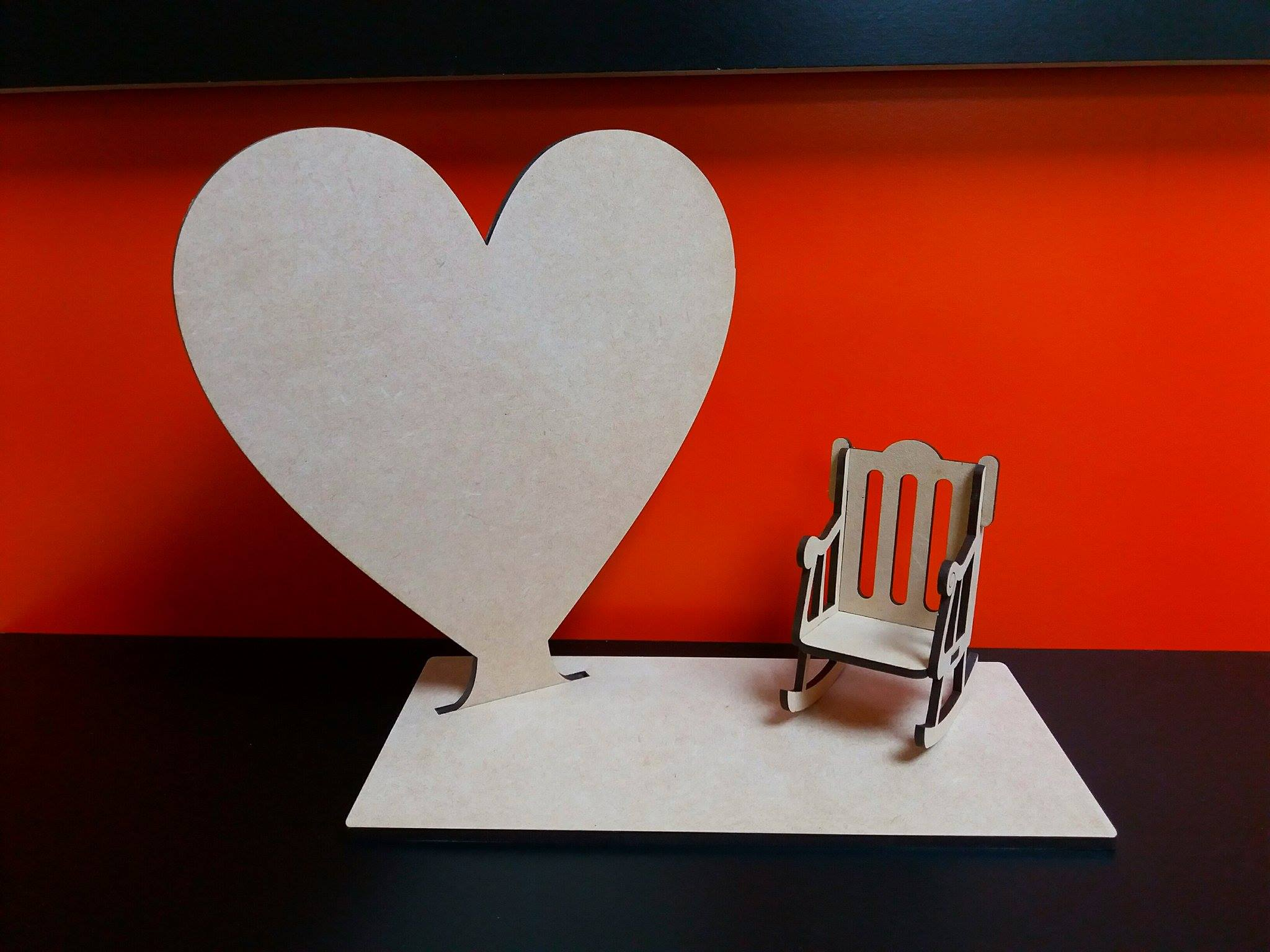 rocking heart craft with stand and rocking chair 20cm x 18cm woodform 2848