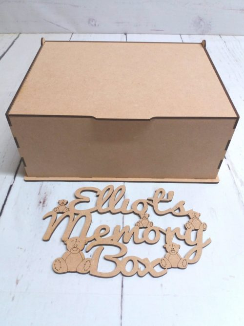 Wooden MDF Laser Cut Named Little box of Memories box topper