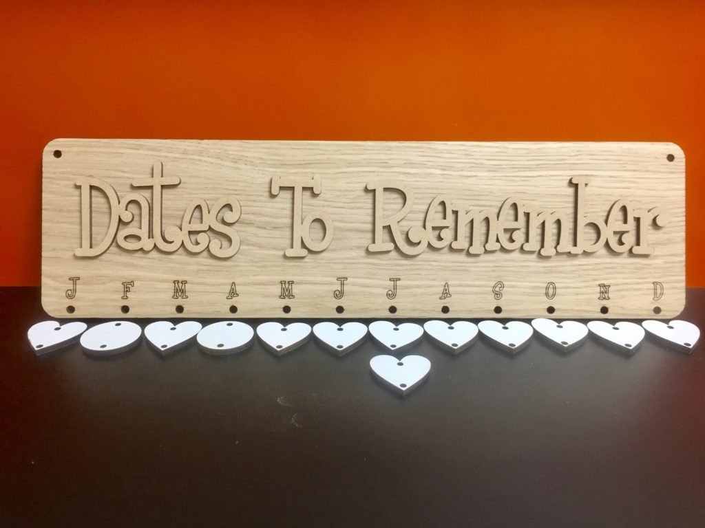 Oak Veneer Dates To Remember Birthday Board With 25 X