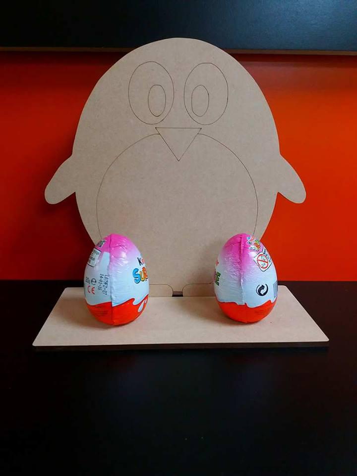 Penguin Egg Holder With Stand 20cm X 20cm Woodform Crafts