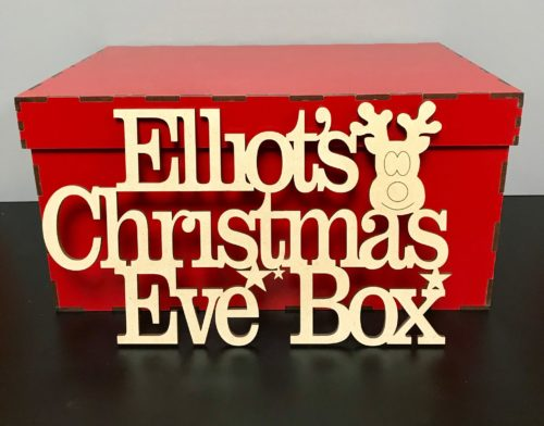 Christmas Eve Crate.Pre Painted White Red Christmas Eve Box With Personalised Topper 29 5cm X 19 5cm X 15 5cm