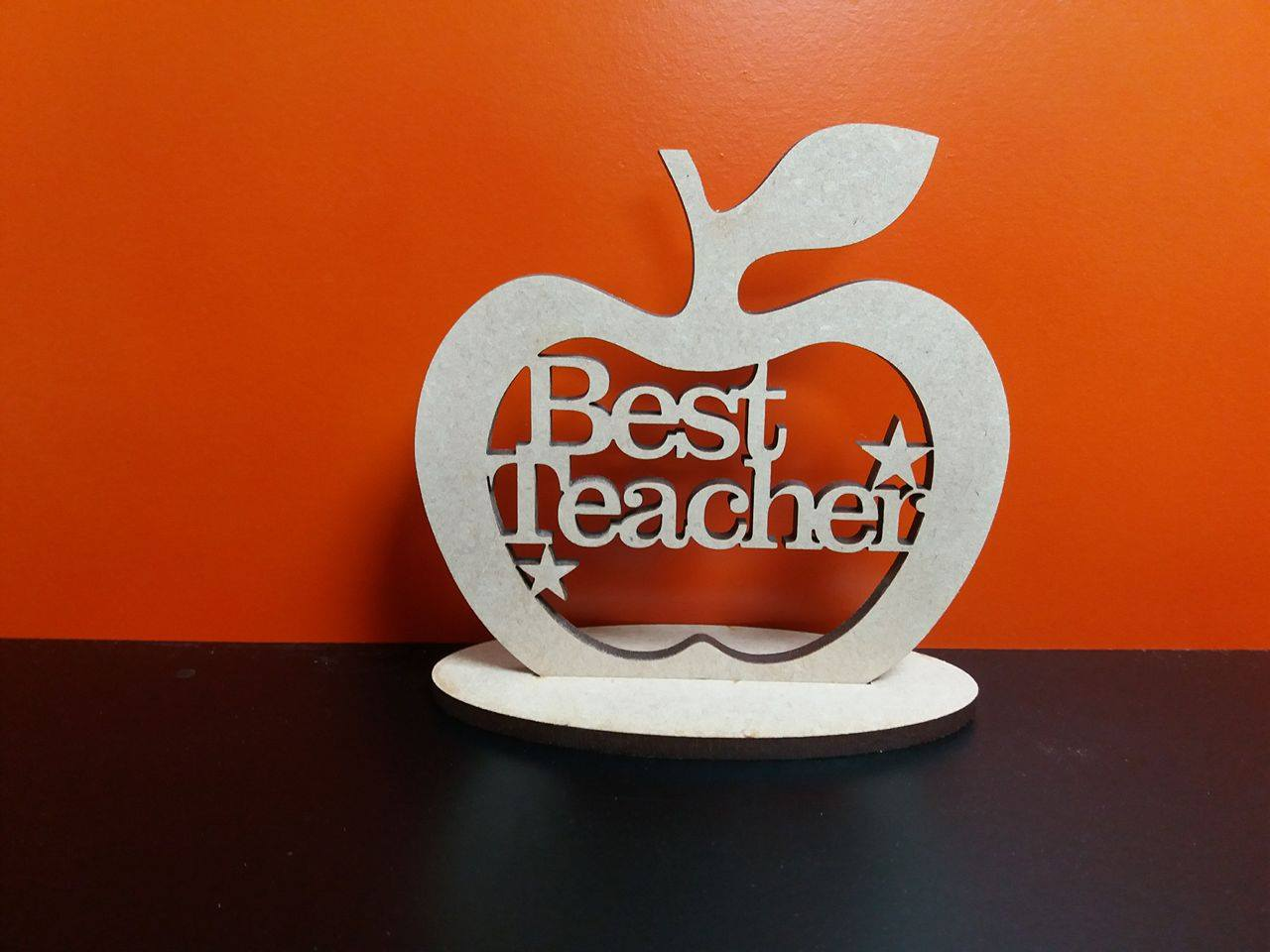 Best Teacher Apple With Stand 10cm X 10cm Woodform Crafts