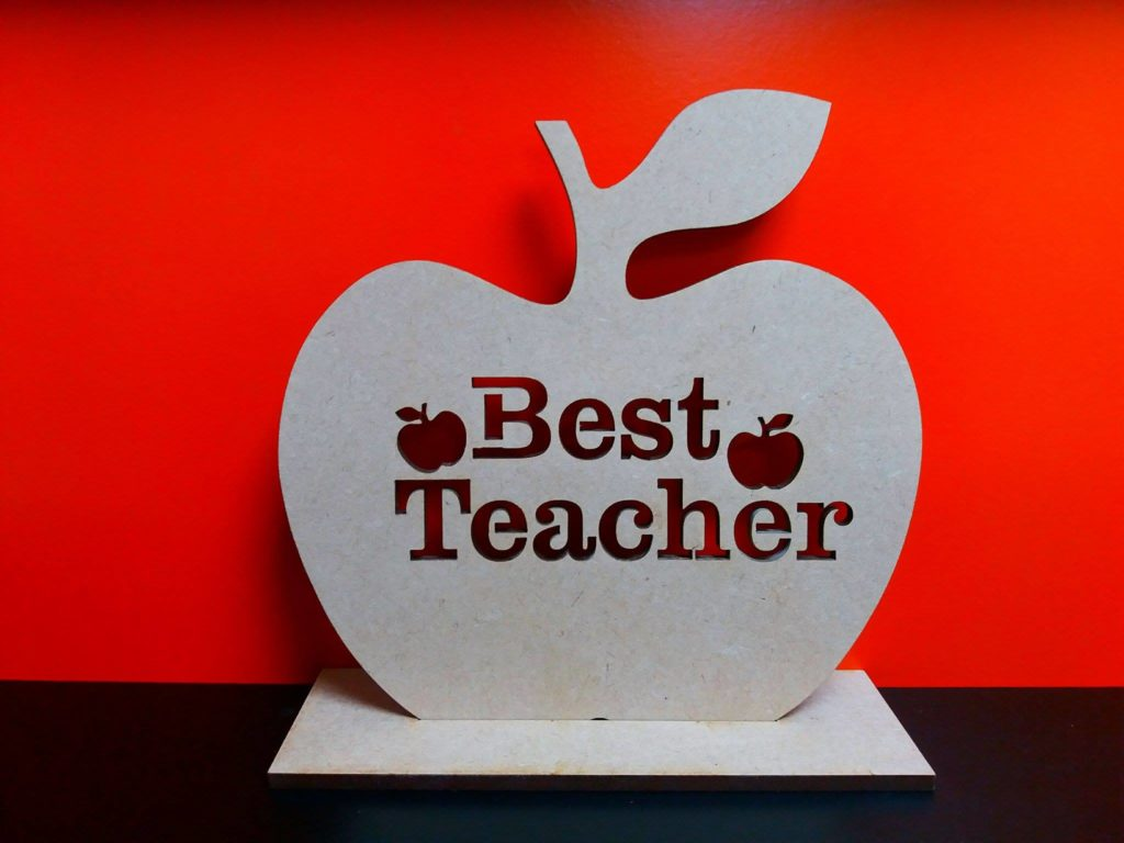 Best Teacher Cut Out Apple With Stand 10cm X 10cm